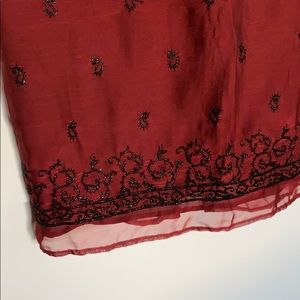 Harold's Skirts - Red and Black Embroidered Paisley Long Skirt